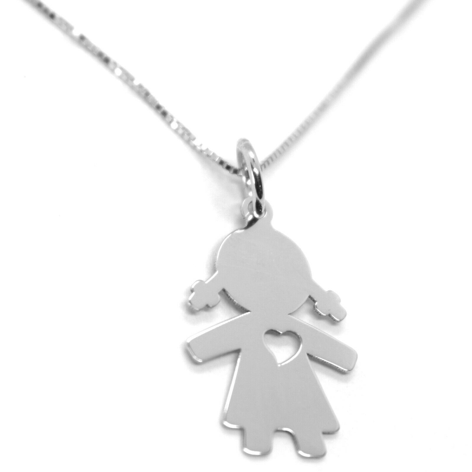 "18K WHITE GOLD MINI NECKLACE, FLAT GIRL HEART PENDANT 0.7"", VENETIAN CHAIN 17.7"""