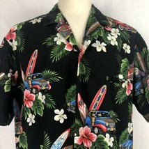 Royal Creations Hawaiian Shirt Mens XL Woody Cars Surf Boards Hibiscus A... - $23.65