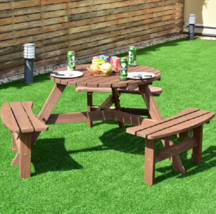 Round Picnic Table 6 Person Wood Patio Dining Tables Outdoor Furniture B... - $184.08