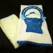 Crocheted Basket on Bath Towel Set Vintage 1960s Mid Century Hand and Wa... - $29.99