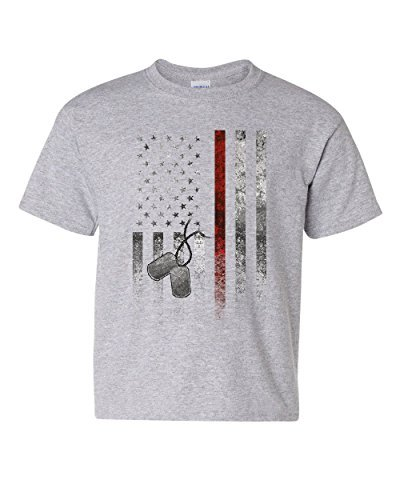 Primary image for Stars and Stripes Dog Tags Youth T-Shirt Military American Patriot USA Kids Tee