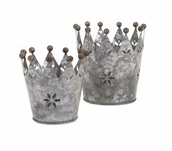 Imax 84863-2 Maddy Galvanized Crowns Set of 2 - $17.24