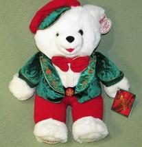"2001 Snowflake Teddy Dan Dee 21"" Red Green Tam White Stuffed Animal Christmas - $28.71"