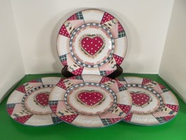 Home Interiors HEARTWARMING HOLIDAY Dinner Plate (s) LOT OF 4 Quilted Holly - $37.57