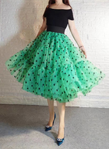 Tiered Midi Tulle Skirt A-line Layered Tiered Tutu Skirt Green Yellow Pink Gray image 3