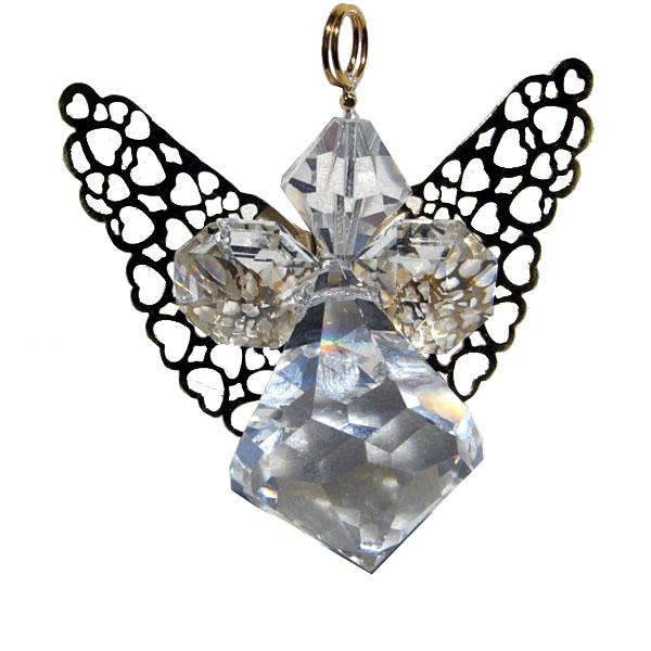 Crystal Angel with Gold Wings