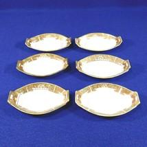 6 Antique Nippon Oval Salt Cellars Dips Moriyama Hand Painted Art Deco Porcelain - $21.50