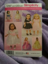 "Simplicity1297 18"" Doll Dresses - $2.00"