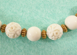 Monet White Beads Carved Look Gold Plate Choker Necklace Strand Vintage ... - $14.80