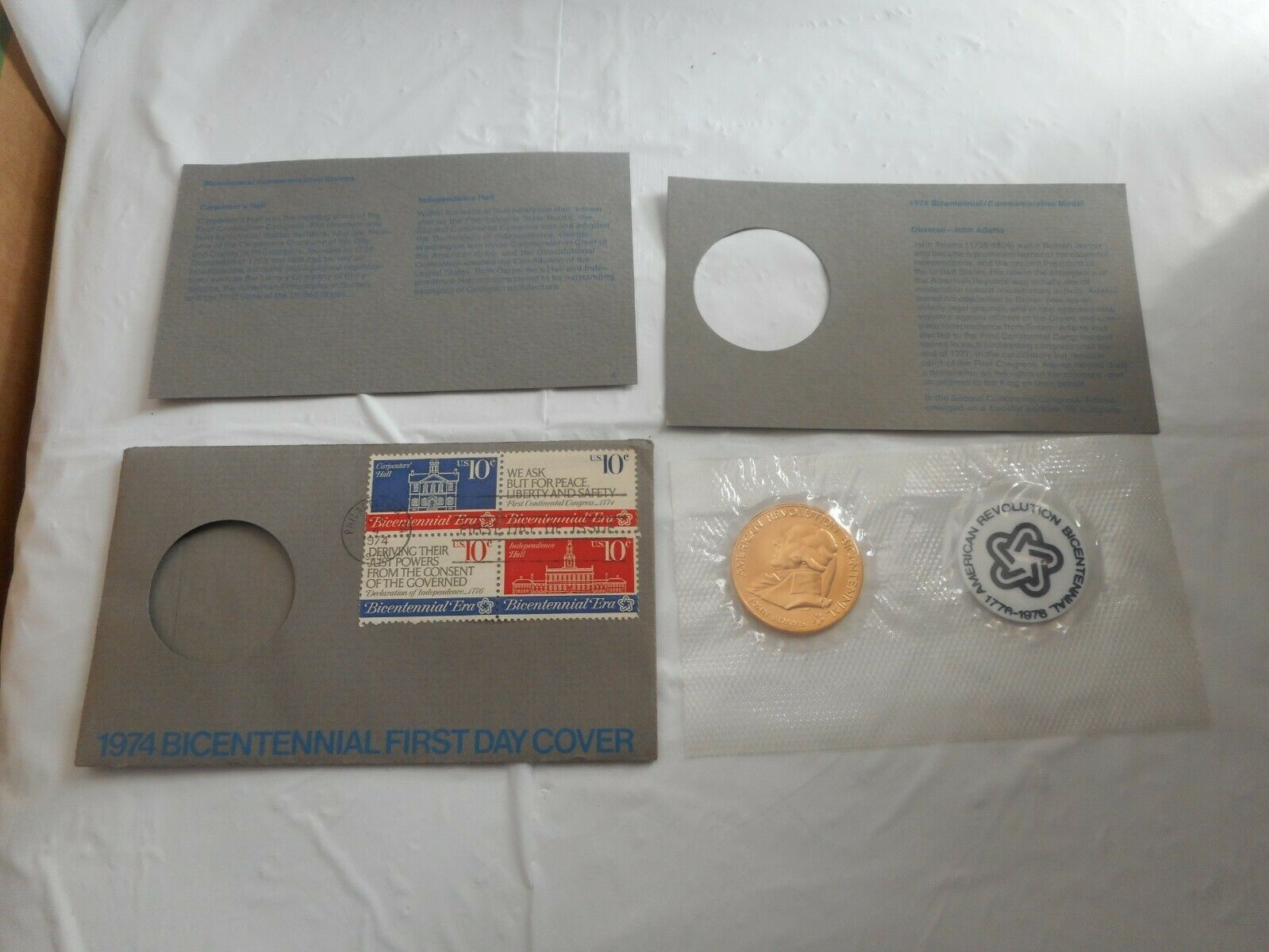 Primary image for 1974 JOHN ADAMS Bicentennial Commemorative Medal & First Day Cover Stamp