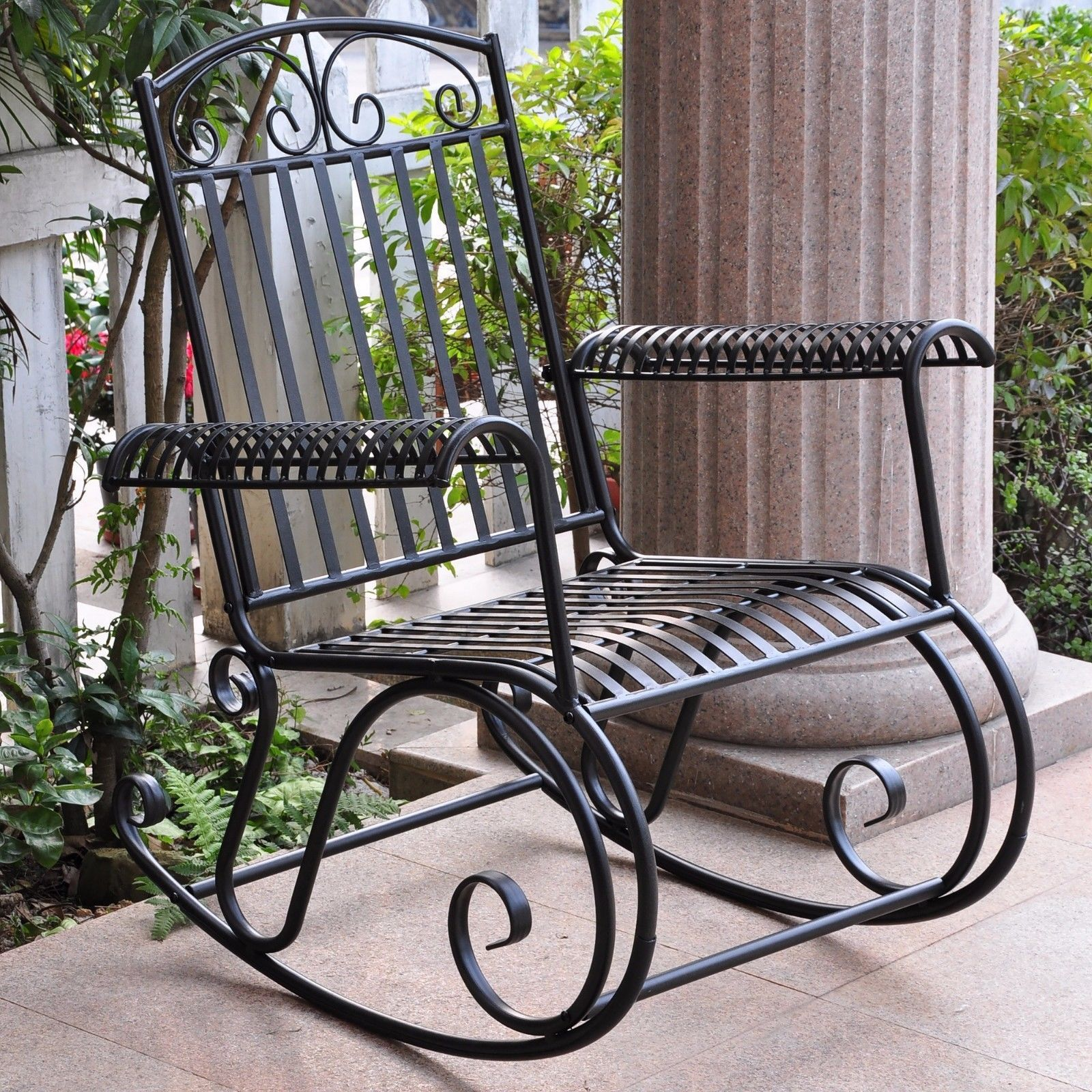Metal iron outdoor rocking chair retro and 50 similar items Vintage metal garden furniture
