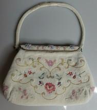 VTG CHUNN White Pastel Flowers Beaded Purse Wedding Handmade France Mid ... - $99.95
