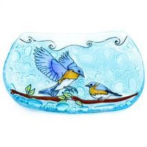 Fused Art Glass Bluebirds Bird Design Soap Dish Handmade in Ecuador