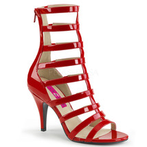 "PLEASER Sexy 4"" Heel Red Patent Strappy Ankle High Boots DRE438/R Large Sizes - $66.95"