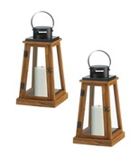 2 PYRAMID CANDLE LANTERNS Rustic Pine Wood  - $49.81
