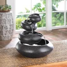 Small Water Fountain, Contemporary Rock Fountain For Home, Granite Finish - $39.08