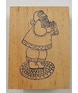 Wood Mounted Rubber Stamp By Rubber Inkpressions Santa Holding Present C... - $7.99
