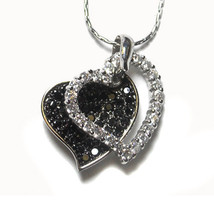 THE LOOK OF REAL  DOUBLE OPEN HEART BLACK &CLEAR RHODIUM NECKLACE-BRIDAL - $39.59