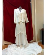 Formal white poly blend sheath with chiffon bottom embossed jacket Dress - $50.00
