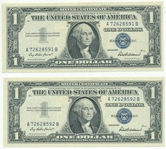 1957 $1 SILVER CERTIFICATES-2 CONSECUTIVE SERIAL #S! CRISP UNC NOTES-SHI... - $16.95