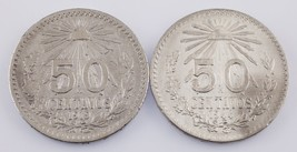 Lot of 2 Mexico 50 Centavos (1919 50C VF+, 1944 50C Uncirculated) KM #447 - $29.70