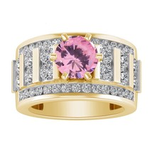 3.10 Ct.tw Pink Sapphire 10K Yellow Gold Over Solitaire Womens Engagemen... - £89.53 GBP