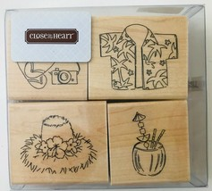 Tropical Vacation 4 Rubber Stamps Tiki Fun Close To My Heart S547 New NRFB - $15.47