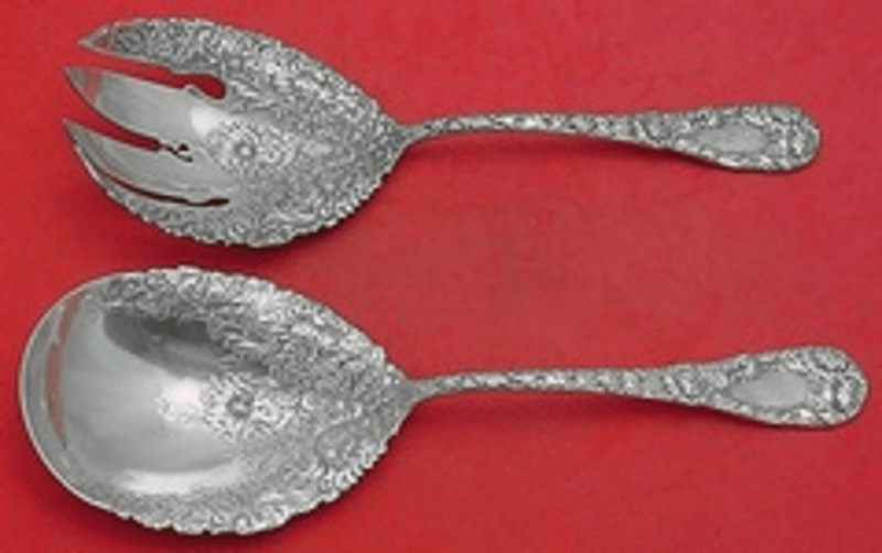 Primary image for Chrysanthemum by Durgin Sterling Silver Salad Serving Set with Round Fork 9 1/4""