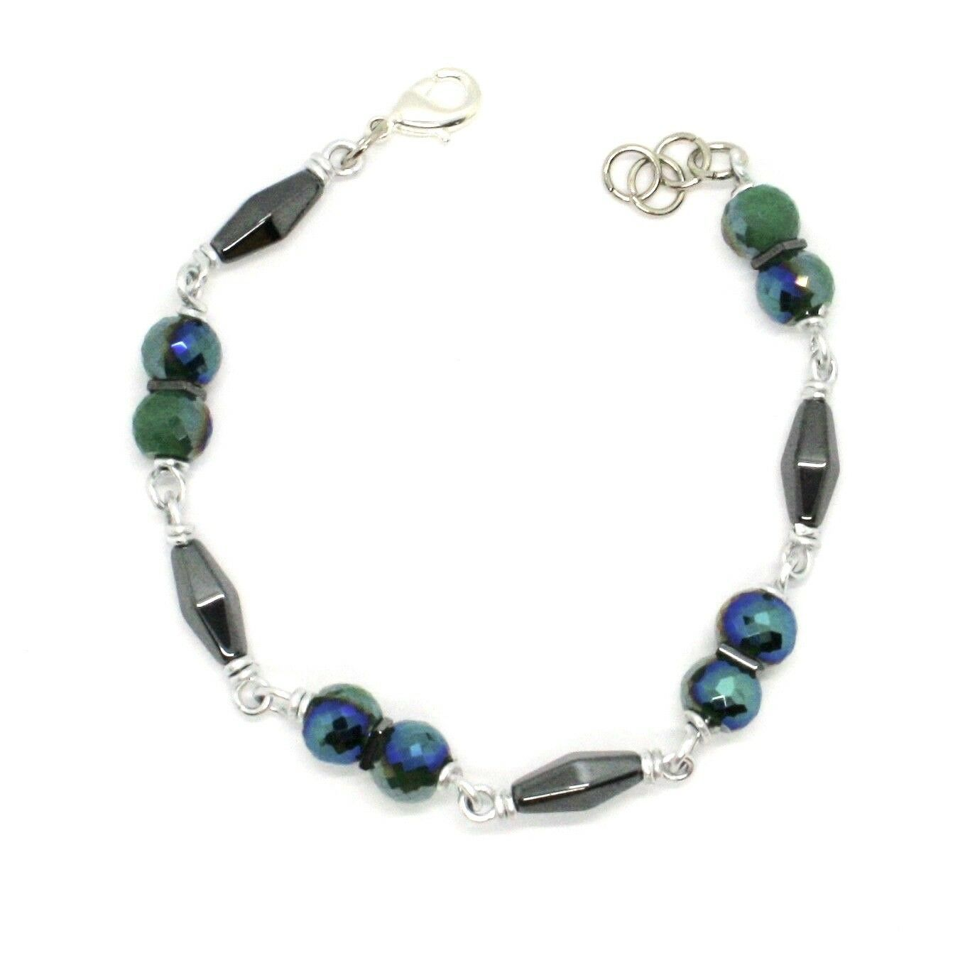 Bracelet the Aluminium Long 19 Inch with Hematite and Crystal Dark Green