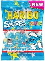 New Haribo The Smurfs Sour! Gummi Candy 4 oz Bag (4 Bags) - $11.85