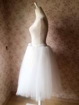 White Midi Tutu Skirt 4-Layered White Puffy Tulle Skirt Short Plus Size image 3