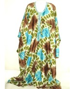 Vtg 70s Mumu House Dress Kimono Kaftan Duster Plus One Size Boho embroid... - $79.15