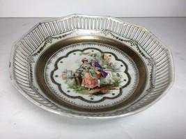 """9"""" Vintage Schumann Bavaria round (10 sided) reticulated bowl w/ Victori... - $29.69"""