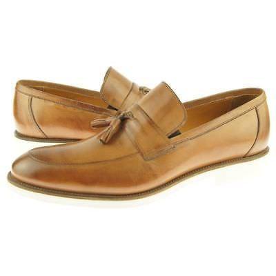 Tan Color Burnished Apron Toe Genuine Leather Tassel Loafer Slip Ons Men Shoes