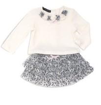 Kate Mack Biscotti Sz 2T White Gray 2pc Top Skirt Animal Print Ruffles O... - $21.69