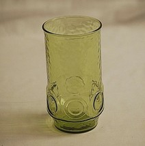 Heritage Hill Green Avocado by Hocking Drinking Glass Tumbler Circles Te... - $12.86