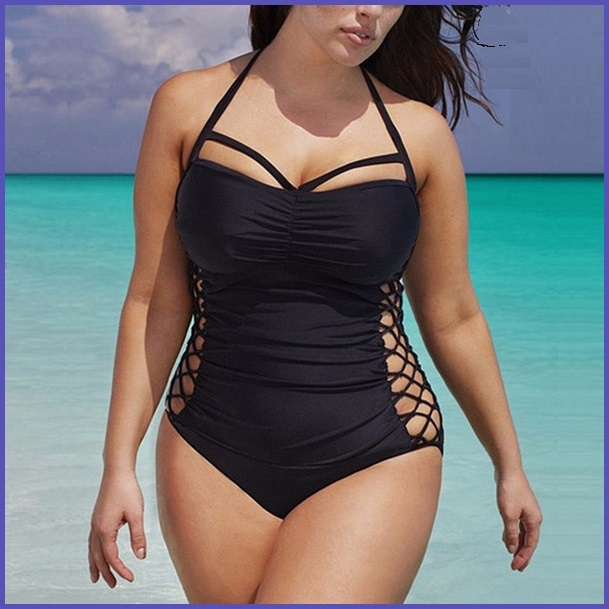 Black Sexy Big Girl Monokini Lace Up Open Sides One Piece Plus Size Swimsuit