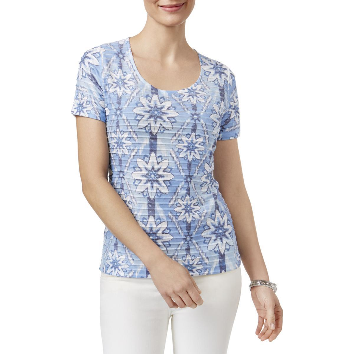 Karen Scott Womens Ruffled Geometric Casual Top, Small