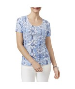 Karen Scott Womens Ruffled Geometric Casual Top, Small - $14.84