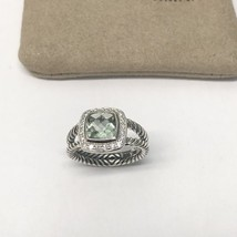 David Yurman Petite Albion Ring With Prasiolite and Diamonds Size 6 - $325.71