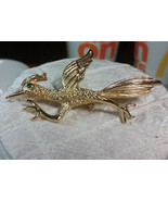 "Vintage Jewelry:2"" Gold Tone Road Runner Brooch 171101 - $7.91"