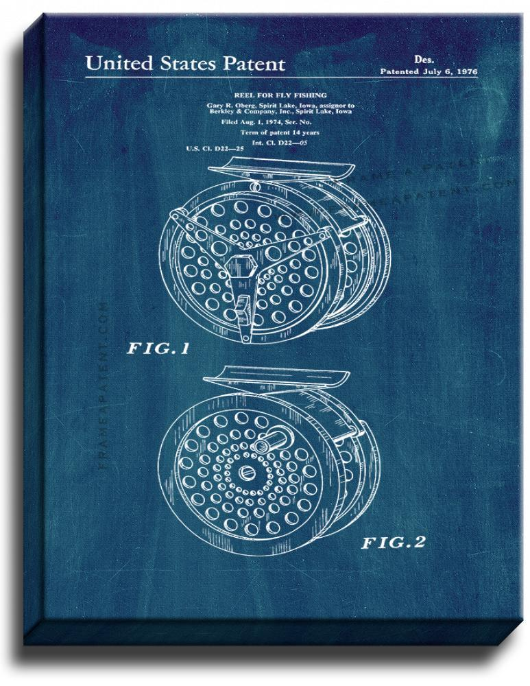 Primary image for Reel For Fly Fishing Patent Print Midnight Blue on Canvas