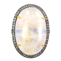 14K Gold Oval Shaped Moonstone Natural Diamond Pave Cocktail Ring Silver... - €603,19 EUR