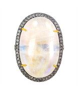 14K Gold Oval Shaped Moonstone Natural Diamond Pave Cocktail Ring Silver... - $719.13