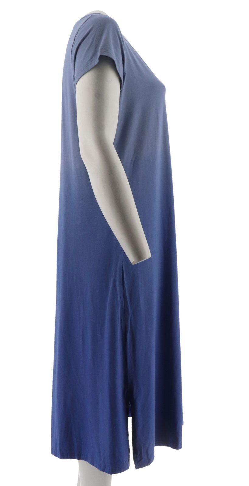 H Halston Short Slv Dip Dye Knit Midi Dress Purple Iris S NEW A289380 image 4