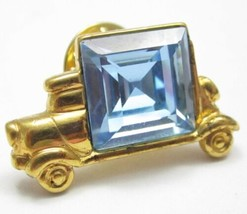 Monet Signed Gold Plated Tie Tack Lapel Hat Pin Truck W/Big Blue Rhinest... - $4.95