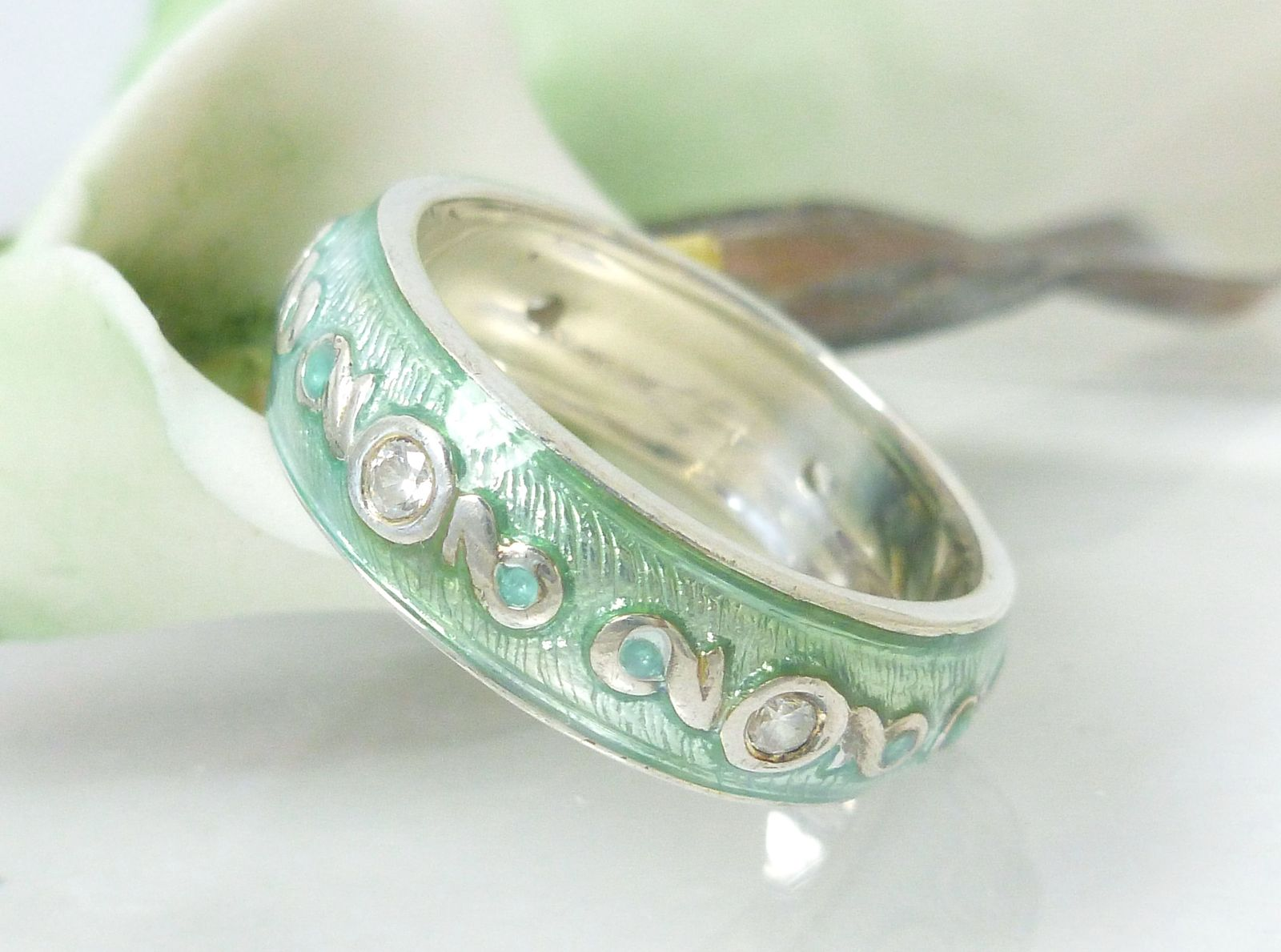 Primary image for Diamonique Sterling Silver Turquoise Green Blue Enamel Eternity Band Ring Size 7