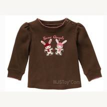 NWT GYMBOREE Cute Pink Brown Girl Snow Angels Bunny T-Shirt Tee Long The... - $12.99