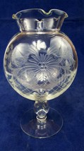 Vintage Etched Clear Glass Footed Ivy Bowl Vase EUC - $37.62