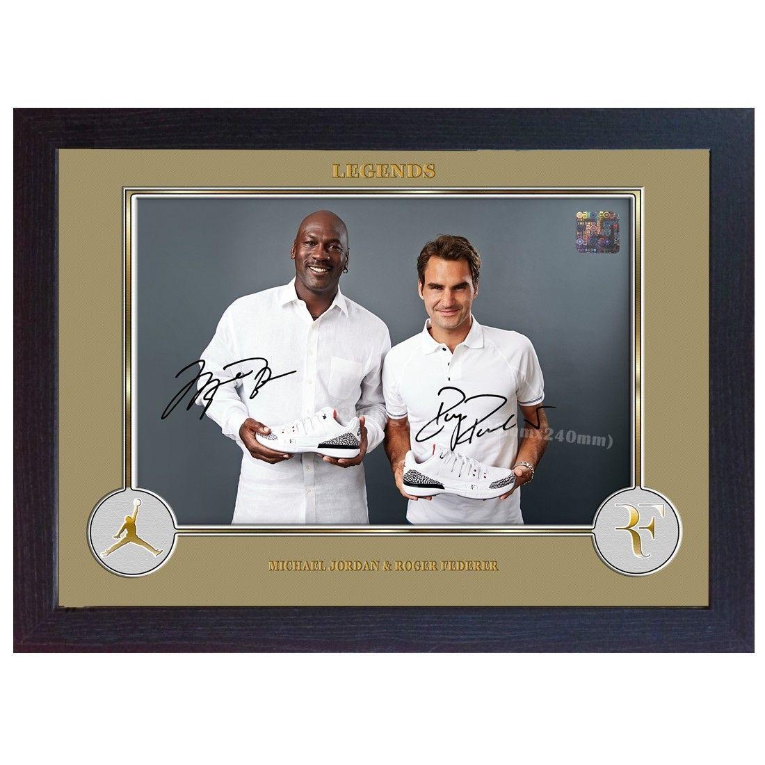 Michael Jordan Roger Federer signed autograph photo print FRAMED